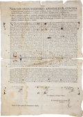 "Autographs:Non-American, [New Spain Broadside] Edict from the Inquisition Court in Mexico Denouncing the Chuchumbé as Immoral. One page, 12.5"" x 17"",..."