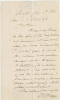 "Autographs:Authors, Oliver Wendell Holmes Sr. Autograph Letter Signed ""O. W.Holmes"". One page, 4.75"" x 8"", January 6, 1882, Boston, to""I..."