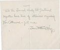 """Autographs:Authors, James Whitcomb Riley Autograph Note Signed on the back of anenvelope, 5"""" x 4"""", [ca...."""