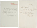 """Autographs:Authors, John Ruskin Autograph Letter Signed """"J Ruskin"""" (one page, 4.5"""" x 7"""", n.d., n.p.) concerning a personal visit. With an ..."""