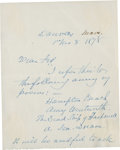 """Autographs:Authors, John Greenleaf Whittier Autograph Letter Signed """"John G.Whittier"""". One page (front and back), 4"""" x 5"""", November 8,1878..."""