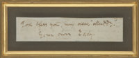 """Edgar Allan Poe Autograph Note Signed. Paper slip, 3.25"""" x .75"""" [sight], n.d., n.p. The note, which was likely..."""