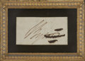 """Autographs:Authors, George Gordon Byron Signature """"Byron"""" on a paper slip which has been excised from a larger document, 1.5"""" x .75"""" [si..."""