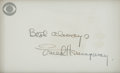 "Autographs:Authors, Ernest Hemingway Autograph Note Signed. On card, 4"" x 2.5"" [sight],with the CBS television network logo in the top left cor..."