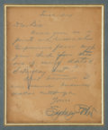 """Autographs:Authors, William Sydney Porter (O'Henry) Autograph Letter Signed. One page, 8"""" x 10"""" (sight), """"Tuesday"""" n.d., n.p., in blue p..."""