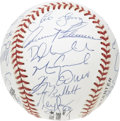 Autographs:Baseballs, 1996 Chicago Cubs Team Signed Baseball. Slammin' Sammy Sosa, MarkGrace and Ryne Sandberg anchor a twenty-five member cast ...