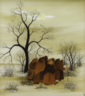 American:Modern, T.K. Cimic (Yugoslavian, 20th century). . Untitled (A Group ofPeasants Walking Through a Fall Landscape) . ...