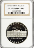 Modern Issues: , 1992-W $1 White House Silver Dollar PR70 Ultra Cameo NGC. PCGSPopulation (27/0). Mintage: 375,849. Numi...