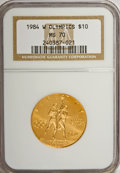 Modern Issues: , 1984-W G$10 Olympic Gold Ten Dollar MS70 NGC. NGC Census: (406/0).PCGS Population (38/0). Mintage: 75,800. Numismedia Wsl....