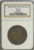 Early Half Dollars, 1806 50C Pointed 6, Stem VF35 NGC....