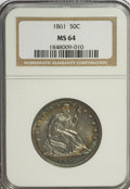 Seated Half Dollars, 1861 50C MS64 NGC....