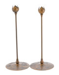 Decorative Arts, Continental:Lamps & Lighting, OTTO HEINTZ. A Pair of Silver on Bronze Tulip-Form Candlesticks,circa 1912. Marks: 3077, Sterling. 14-3/4 inches (37.5 ...(Total: 2 Items)