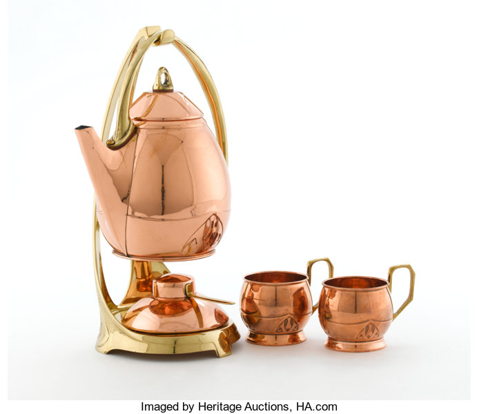 ALBIN MUELLER FOR EDUARD HUECK  A Copper and Brass Kettle on Stand
