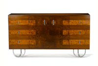 """GILBERT ROHDE FOR HERMAN MILLER A Burl Walnut, Harewood, and Brushed Chromium Plated Metal """"Formal Dining Group&quo..."""
