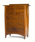 Furniture : American, HARVEY ELLIS FOR GUSTAV STICKLEY. An Oak Chest of Drawers, model no. 913, circa 1900. Marked in drawer: Gustav Stickley re...