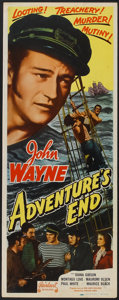 "Movie Posters:Adventure, Adventure's End (Realart, R-1949). Insert (14"" X 36""). Adventure....."