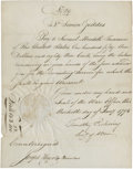 Autographs:Statesmen, Timothy Pickering Document Signed as secretary of war withendorsement signature on verso by U.S. Treasurer Samuel Meredit...