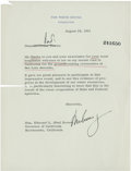 """Autographs:U.S. Presidents, John F. Kennedy Typed Letter Signed as president to California Governor Pat Brown. One page, 6.75"""" x 9"""", August 28, 1962..."""