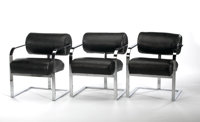 MILO BAUGHMAN FOR THAYER COGGIN A Set of Six Chromium Plated Metal and Leather Upholstered Chairs, circa 1960s