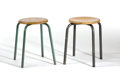 Furniture : French, JEAN PROUVÉ. A Pair of Laminated Beech and Enameled Steel Stools,circa 1935. 17-1/2 inches (44.5 cm) high, each. ... (Total: 2Items)