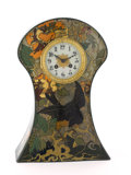 "Decorative Arts, Continental:Other , W.P. HARTGRING FOR ROZENBURG POTTERY. A ""Blackbird"" Hand-PaintedFaience Mantle Clock, circa 1904. Painted on interior: Ro..."