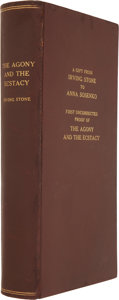 Books:Signed Editions, Irving Stone. The Agony and the Ecstasy: A Novel ofMichelangelo. Garden City: Doubleday & Company, 1960. ...