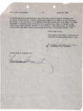 Music Memorabilia:Autographs and Signed Items, Louis Armstrong Signed Contract....