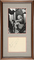 Movie/TV Memorabilia:Autographs and Signed Items, Jean Harlow Rare Autograph with Photo....