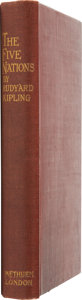 Books:First Editions, Rudyard Kipling. The Five Nations. London: Methuen andCompany, 1903. First edition. Octavo. Original maroon gi...