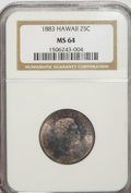 Coins of Hawaii: , 1883 25C Hawaii Quarter MS64 NGC. NGC Census: (173/195). PCGS Population (306/243). Mintage: 500,000. (#10987)...