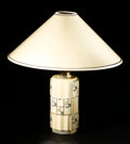 Decorative Arts, French:Lamps & Lighting, ROBERT LALLEMANT. A Painted and Glazed Earthenware Table Lamp,circa 1928. Marks: T R Lallemant, Made in France. 19-1/2 ...