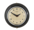 Paintings, GILBERT ROHDE FOR HERMAN MILLER. A Black Lacquer and Chromium Plated Metal Wall Clock, circa 1934. Printed on clock face: ...