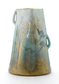 "Ceramics & Porcelain, Continental:Modern  (1900 1949)  , CLÉMENT MASSIER. A Gilt Decorated Glazed Earthenware ""Bamboo and Flying Crane"" Vase, circa 1900. Impressed on base: Clemen..."