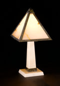 Decorative Arts, French:Lamps & Lighting, ALBERT CHEURET. An Alabaster and Silvered Bronze Table Lamp, circa1925. Inscribed on base: Made in France. 15-1/2 inche...