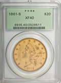 Liberty Double Eagles, 1861-S $20 XF40 PCGS....