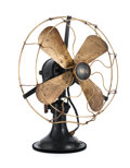 Decorative Arts, Continental, PETER BEHRENS FOR AEG. A Metal and Cast Iron Table Fan, circa 1908.Manufacturer's label on base. 16-1/2 inches (41.9 cm) hi...