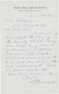 """Autographs:Military Figures, Alfred Pleasonton Autograph Letter Signed. Four integral pages, written on page one, 5"""" x 8"""", May 30, 1870, New York, United..."""
