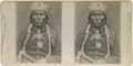 """Autographs:Military Figures, [Chief Thunder Hawk] Stereoview of Chief Thunder Hawk, 7"""" x 3.5"""". The stereo card was published by G. H. Nickerson of Provic..."""