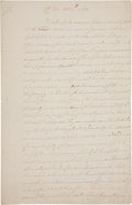 """Autographs:Military Figures, [Benjamin Lincoln] Revolutionary War: Virginia Officers' Petition. Two pages, two sided, with integral address leaf, 8"""" x 12..."""