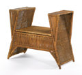 Furniture : Continental, HENRY VAN DE VELDE. A Woven Wicker and Wood Bench, circa 1906-1908. 32 x 36 x 18 inches (81.3 x 91.4 x 45.7 cm). ...