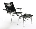 Furniture : Continental, YRJO KUKKAPURO FOR HAIMI. A Chromium Plated Metal and Leather Chair with Ottoman, circa 1960s. 31-1/2 x 29-3/4 x 25 inches (...