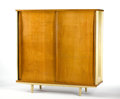 Furniture : French, JEAN PROUVÉ. A Bent Steel and Wood Armoire, circa 1950. 63 x 58-1/2x 21 inches (160.0 x 148.6 x 53.3 cm). ...