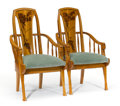 Furniture : French, LOUIS MAJORELLE. A Pair of Carved Walnut, Rosewood, and OakArmchairs with Floral Marquetry Backs, circa 1900. 43 x 23-1/4 x...
