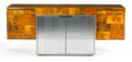 Furniture : American, PAUL EVANS STUDIO FOR DIRECTIONAL USA. A Chromium Plated Metal and Burl Wood Patchwork Credenza, circa 1970. 29-3/8 x 72...