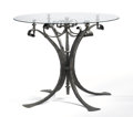 Furniture : American, SIMON BENETTON. A Wrought Iron and Glass Occasional Table. 32 x 38 x 38 inches (81.3 x 96.5 x 96.5 cm). ...