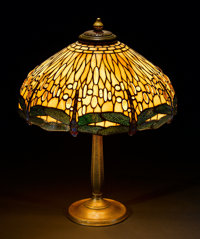"TIFFANY STUDIOS A ""Dragonfly"" Leaded Glass and Bronze Table Lamp, circa 1910 Shade stamped: TIFFANY STUDIOS..."