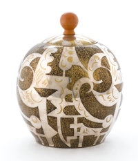 PAUL HAUSTEIN FOR WMF A Silvered and Patinated Brass and Ivory Ikora Covered Jar, model no. 110/216, circa 1929