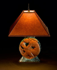 ÉDOUARD CAZAUX A Glazed Ceramic and Metal Table Lamp, circa 1935 Signed on base: CAZAUX Made in France</...