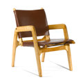 , ILMARI TAPIOVAARA . A Birch and Leather Lounge Chair, circa 1947, designed for the Competition for Low-Cost Furniture Design...