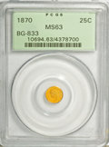 California Fractional Gold, 1870 25C Liberty Round 25 Cents, BG-833, Low R.6, MS63 PCGS....